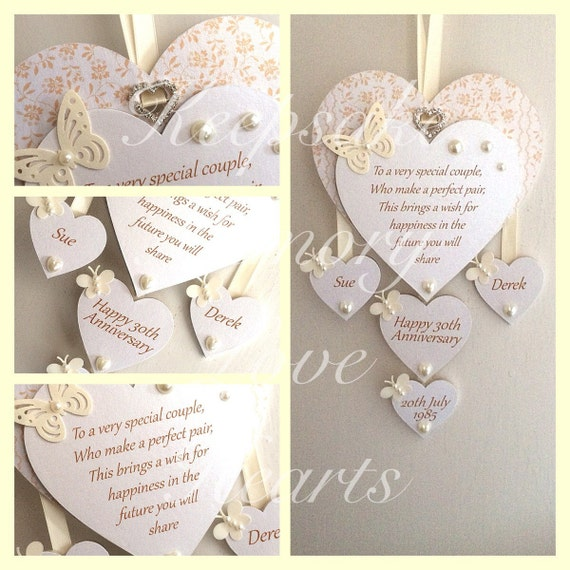 30th Pearl Anniversary Gift Personalised Wooden Keespake Heart