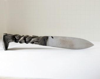 Hand Forged Railroad Spike Knife (Cubic Twist )