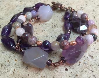 Amethyst Gemstone 3 Strand Bracelet