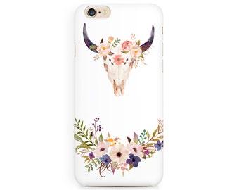 Flower Bull Skull cell phone case, Desert, Coachella, Apple iphone, Samsung Galaxy, Note, 6, 6 plus, 5, 4 etc