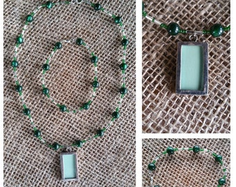 Green and Silver Picture Necklace and Earring Set