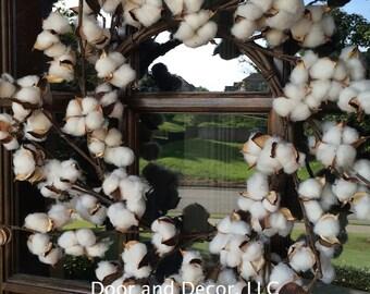 ON SALE NOW~Fall wreath~Cotton Wreath-Cotton Boll Wreath-Cotton Boll-Rustic Cotton-Wedding Wreath-Farmhouse wreath-Front Door Wreath-Rus
