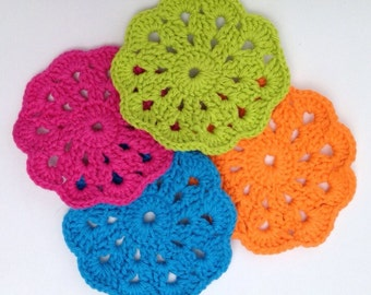 Flower Crochet Coasters - Set of 4 multicolored