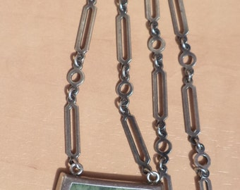 Old The Silver chain with pendant ( inset stone )