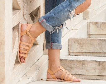 Leather sandals, Low Leather Gladiator Sandals, Roman sandals, Women Sandals, Greek sandals, Handmade sandals, Gladiators