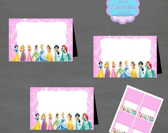 Disney Princess BLANK/EDITABLE Food Tent, Tent Card, Place Card, Buffet Food Label PRINTABLE