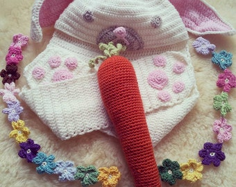 Melt Your Heart Bunny Hood and Scarf in Luxurious Soft Australian Wool