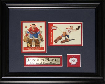 Jacques Plante Montreal Canadiens NHL 2 card hockey frame