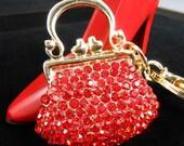 Red Handbag Rhinestone Keychain Purse Charm, Bling Keychain, Women's Red Crystal Handbag Charm,Bling Car Decor, Fashion Handbag Accessory