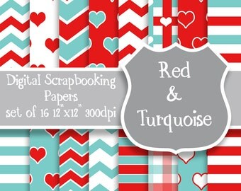 Digital Scrapbooking Paper, digital paper, pattern background, white, red, turquoise, digital clipart, chevron, hearts paper, stripes plaid