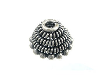 Handmade Oxidized 925 Sterling Silver Bali Cap Large Cones - 2 pcs.