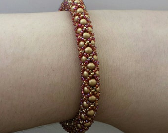 Burgundy & Gold Tubular Netted Bracelet with 14k Gold Filled Clasp