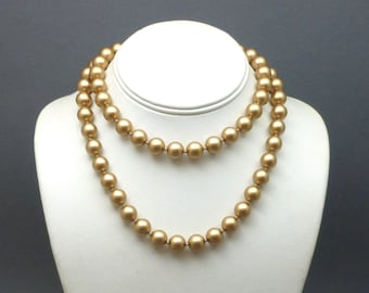 "Carolee 30"" Gold Faux Pearl Necklace"