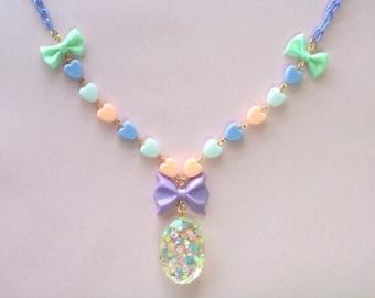 Fairy kei, Kawaii Necklace, Pastel, Lolita, Ribbon, Pop kei, Resin, Cute,