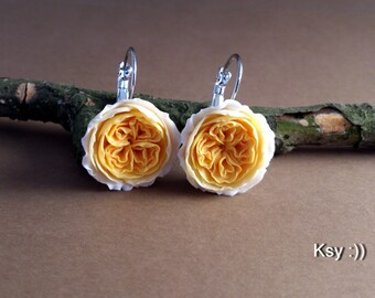 Rose Earrings.English Rose Earrings. Roses Jewelry. Polymer Roses. Accessories girl. Polymer Rose. Peach Rose