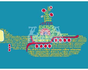 Yellow Submarine Lyric Art 8.5x11