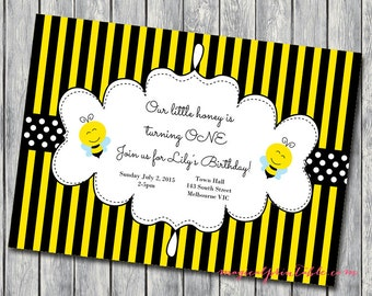 Custom Invite, Bumble Bee invitation, Personalized Invite, Cute as a bee Birthday Invitation, Gender reveal party, Bee themed IV32