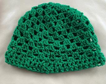 Emerald Green Beanie hat, Granny Square crochet, women's beanie hat