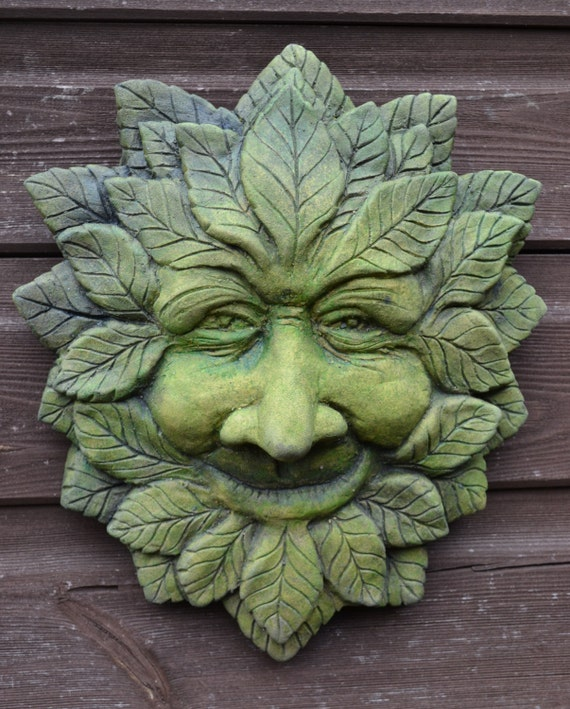 Large Wise Happy Green Man Decorative Wall Plaque