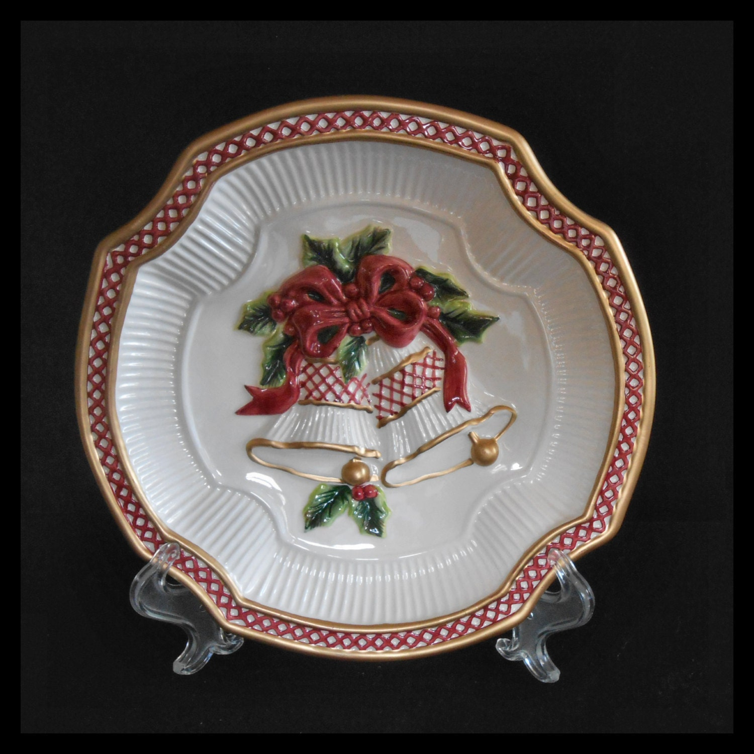 Hand Painted Porcelain Plate Ceramic Plate Christmas Plate Holiday Decor