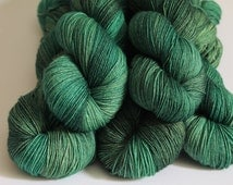 Into the Forest - Hand Dyed Yarn -  Dyed to Order - 4ply/ DK weight - Fingering weight - Tonal Green yarn - Christmas Yule Green yarn