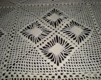 Tablecloth, Handmade, Vintage, Ecru