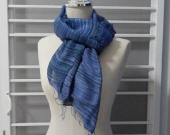 hand painted silk scalf, evening blue