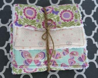 Baby Girl Burp Cloth- Ultra Absorbent Set of 3