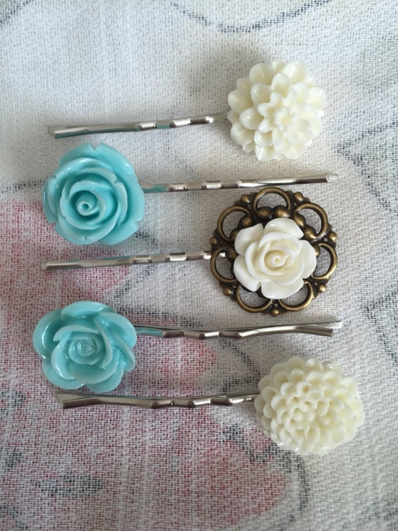 Shabby chic teal and white floral bobby pins by - Telas shabby chic ...