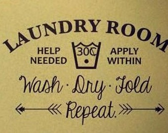 Laundry Room Wall Vinyl Decal-- Wash.Dry.Fold