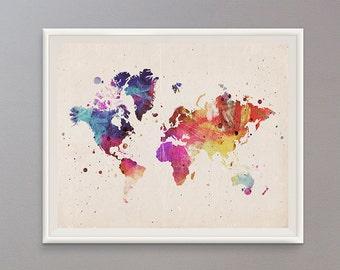 50% OFF  DIGITAL DOWNLOAD Inspirational Print Colorful World Map Print Vintage Distressed Look