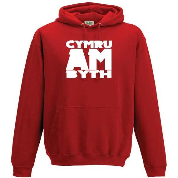 Cymru Am Byth Wales Forever Cymru Hooded Sweatshirt.Unisex Quality sweatshirt slogan holiday gift present