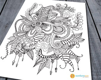 Doodle Adult Colouring Page, Printable Colouring Pages Zen Doodle Art