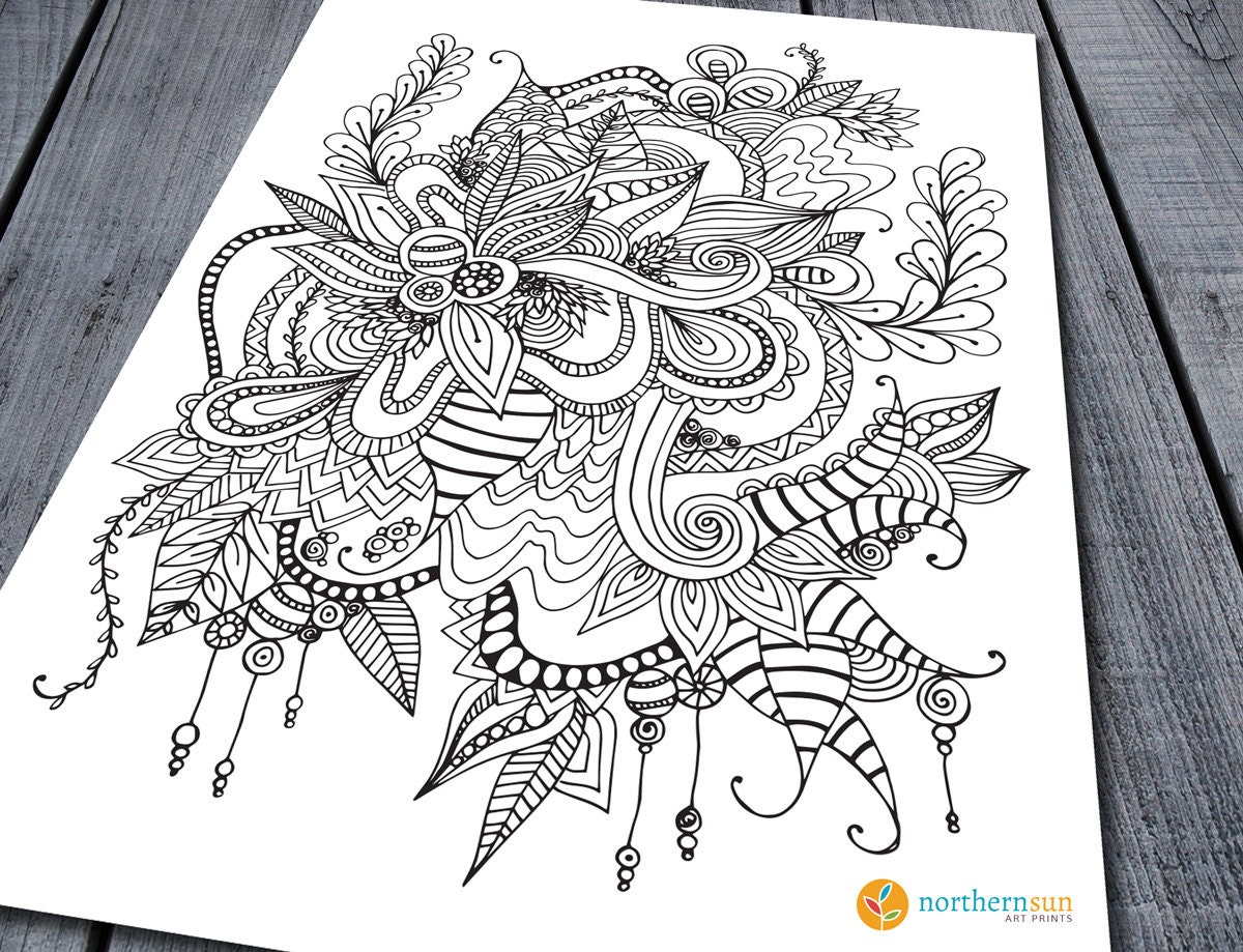 doodle colouring page printable colouring pages zen