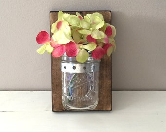 One Mason Jar Wall Sconce Rustic Reclaimed Pallet Barn Wood Hand Painted Distressed Tea Light Holder Flower Vase Sconce