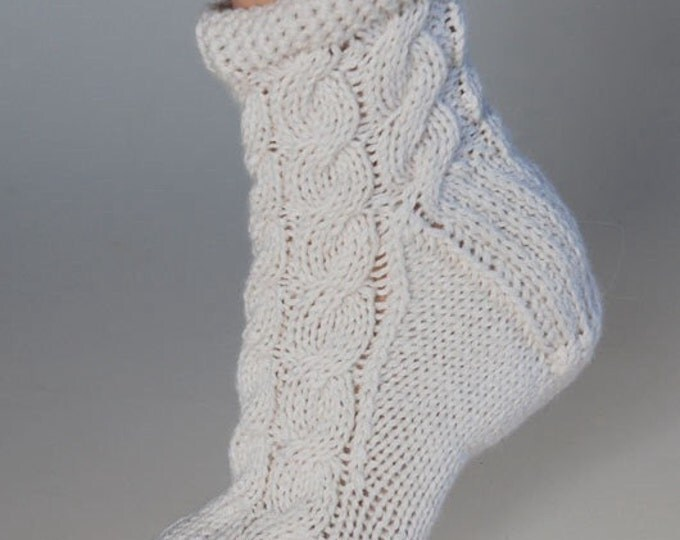 Ladies luxury winter white alpaca & mulberry silk handmade cable bed socks by Willow Luxury