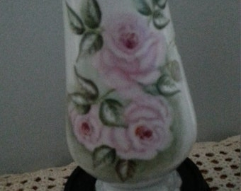 Vintage 1975 handpainted roses porcelain vase signed Addy 1975 beautiful colors