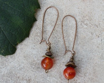 Carnelian and antiqued copper wire dangle earrings