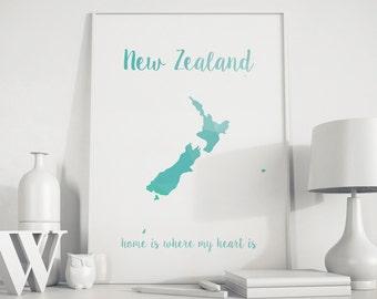 New Zealand map New Zealand art New Zealand poster New Zealand print printable Island map Island turquoise art Map wall decor Geometric art