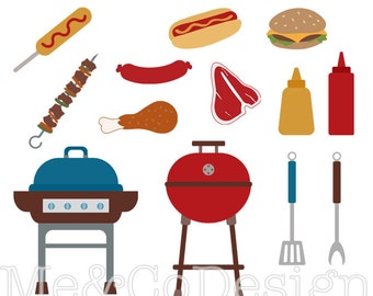 BBQ Clipart, Fun Happy Clipart, Barbecue Hot Dog Planner Sticker Instant Download, Personal and Commercial Use Clipart, Digital Clip Art
