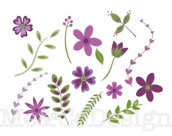 Purple Flora Clipart, Fun Pretty Clipart, Gardening Instant Download, Personal and Commercial Use Clipart, Digital Clip Art