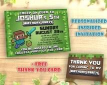 Minecraft Invitation Personalized Printable, Birthday Invitation Printables, Pixel Party, Inspired by Minecraft Invitation, Custom Card