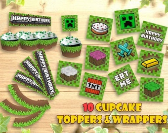 Mine Themed Cupcake Topper Wrappers Happy Birthday Party Printable Toppers Decoration Food Tent Wrap Labels Buffet