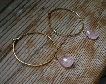 Pink aquamarine earrings / hoop earrings / Aquamarine hoop earrings / Pink aquamarine jewelry / Opaque Aquamarine