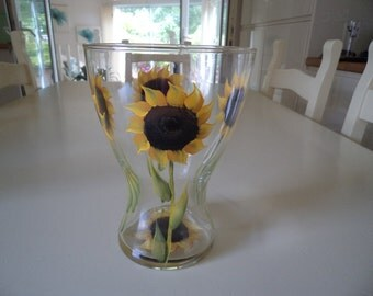 Hand Painted Sunflower Glass Vase