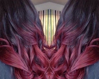 Deep Red Ombre Clip In Hair Extension Piece - Multiple Colors Available