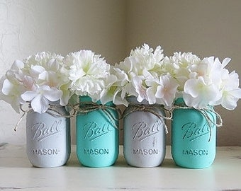 Baby Teal and Gray Distressed Mason Jars. Baby Boy Shower Mason Jars. Shabby and Chic. Distressed Mason Jars. Teal and Grey. Nursery Decor