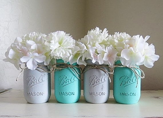 Baby Teal And Gray Distressed Mason Jars Baby Boy Shower