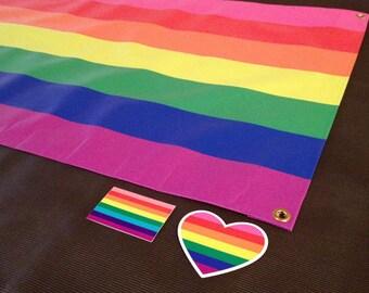 Gay Pride Outdoor Vinyl Banner and Bumper Sticker Combo Set