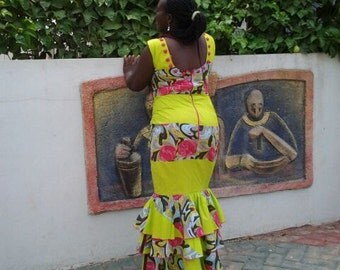 African Wax Print Gown, Mermaid Dress